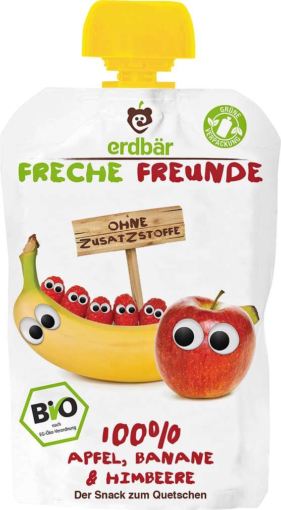 Abbildung des Sortimentsartikels Erdbär Freche Freunde Quetschmus 100 % Apfel, Banane & Himbeere 100g