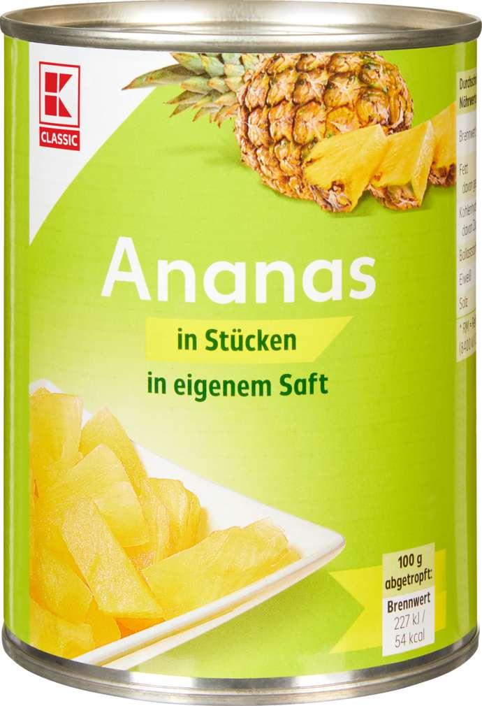 Abbildung des Sortimentsartikels K-Classic Ananas in Stücken in Ananassaft 580ml