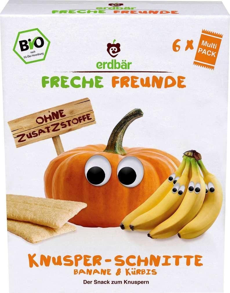 Abbildung des Sortimentsartikels Erdbär Freche Freunde Knusper-Schnitte Banane & Kürbis 6x3 Stück