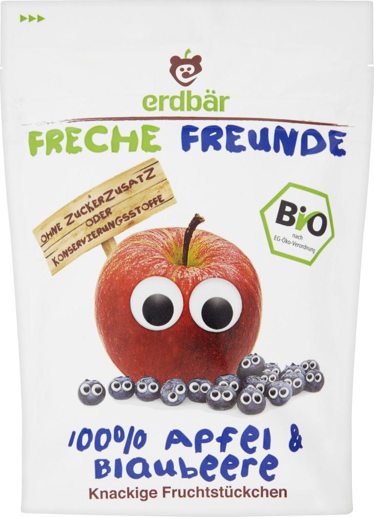 Abbildung des Sortimentsartikels Erdbär Freche Freunde Fruchtstückchen 100% Apfel & Blaubeere 16g