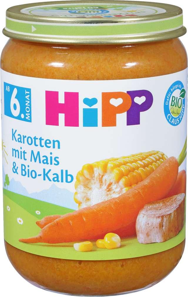 Abbildung des Sortimentsartikels Hipp Karotten mit Mais und Bio-Kalb 190g