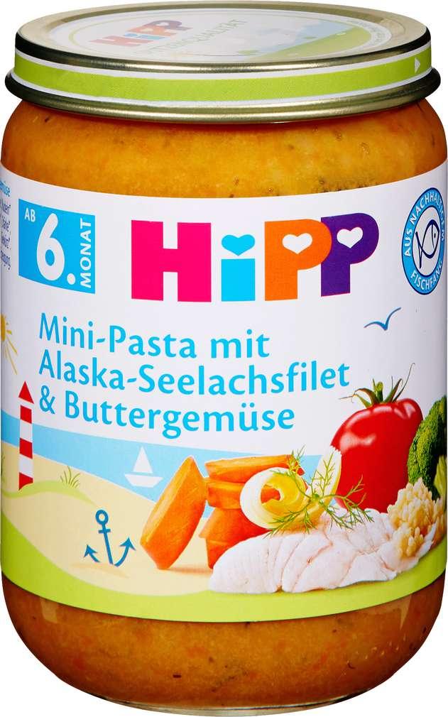 Abbildung des Sortimentsartikels Hipp Mini-Pasta mit Alaska-Seelachsfilet und Buttergemüse 190g