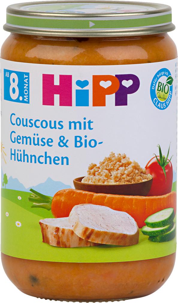 Abbildung des Sortimentsartikels Hipp Couscous mit Gemüse & Bio-Hühnchen 220g