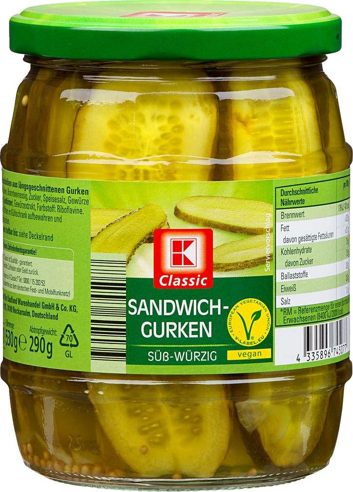 Abbildung des Sortimentsartikels K-Classic Sandwich-Gurken süß-würzig 530g