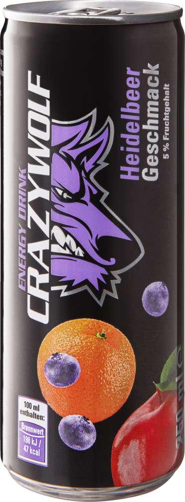 Abbildung des Sortimentsartikels Crazy Wolf Energy Drink Heidelbeer 0,25l