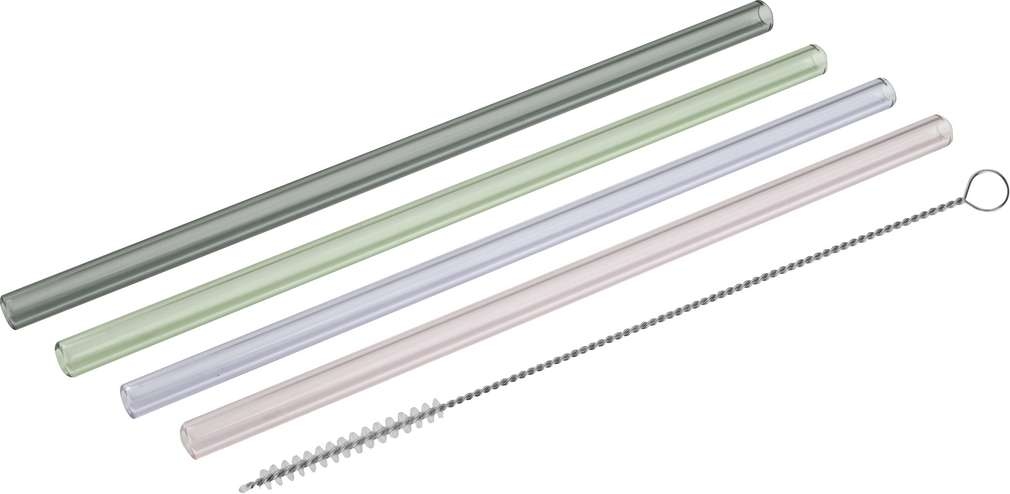 Abbildung des Sortimentsartikels Tasty Glas-Trinkhalme inkl. Bürste 4 Stück
