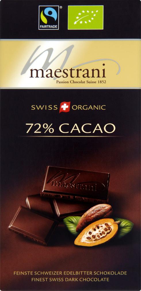 Abbildung des Sortimentsartikels Maestrani 72% Cacao 80g