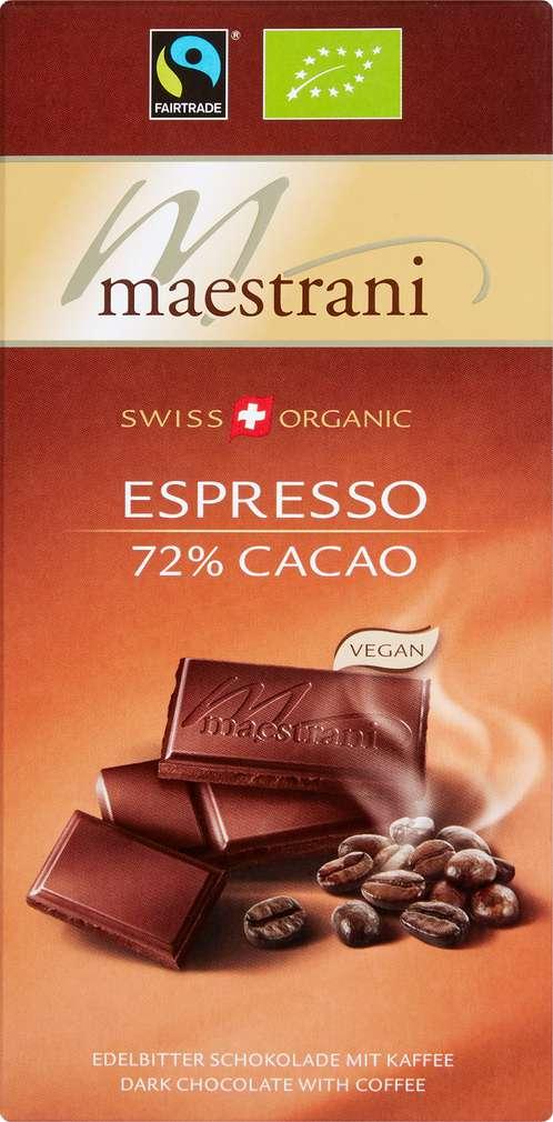 Abbildung des Sortimentsartikels Maestrani Espresso 72% Cacao 80g