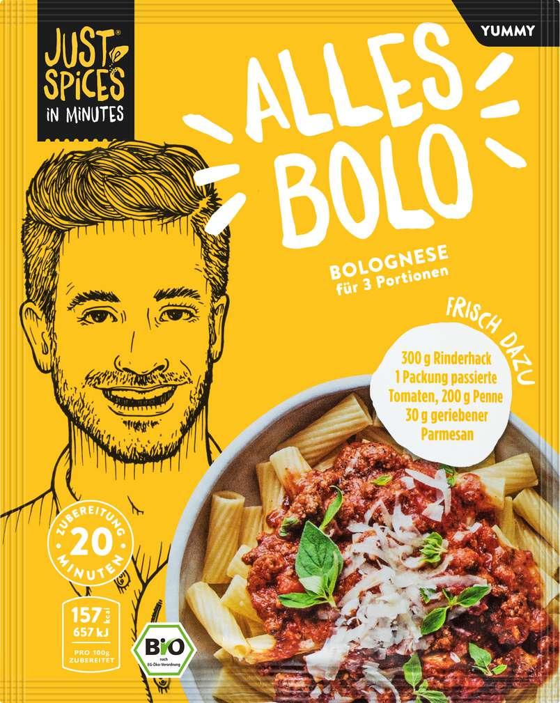 Abbildung des Sortimentsartikels Just Spices Bio-Gewürz Bolognese lf 40g