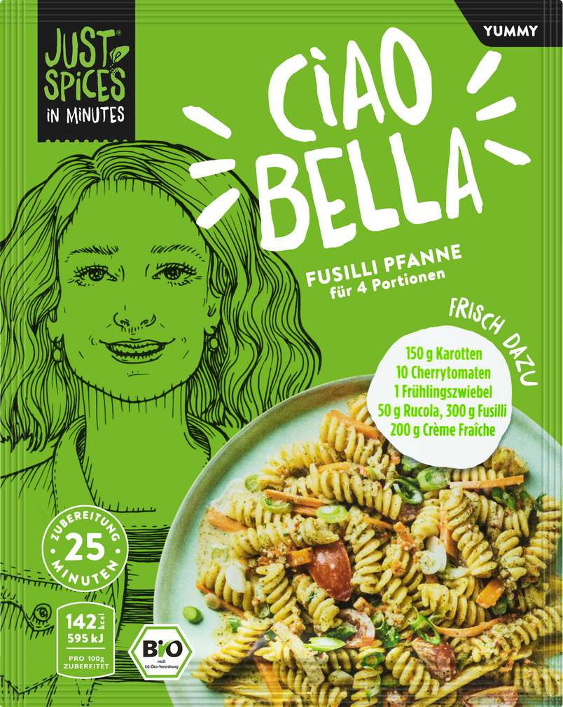 Abbildung des Sortimentsartikels Just Spices Bio-Gewürz Fussili Pfanne lf 25g