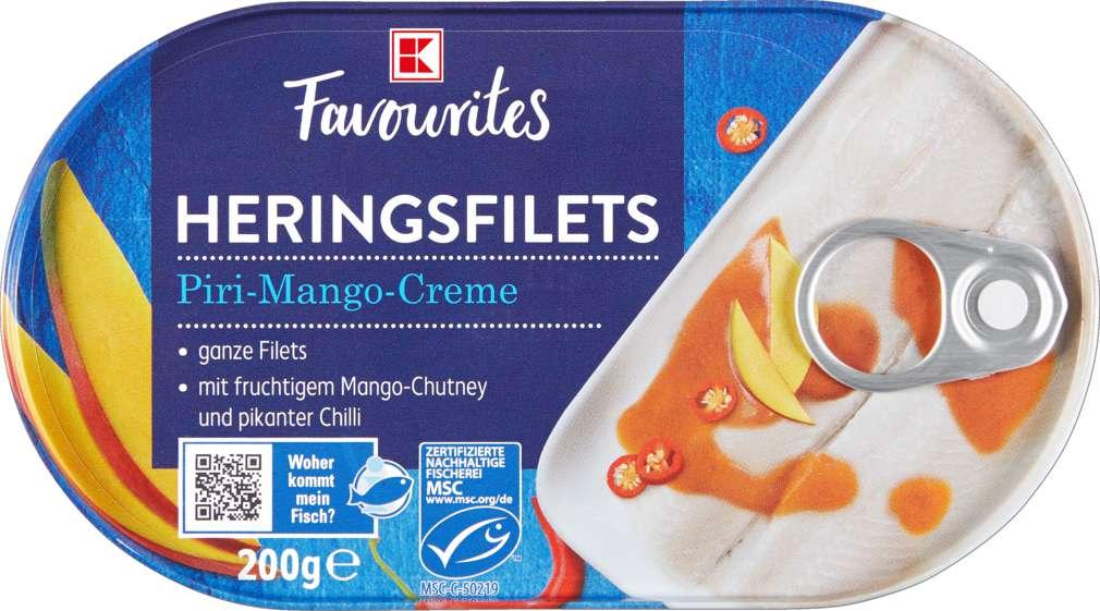 Abbildung des Sortimentsartikels K-Favourites Heringsfilets in Piri-Mango-Creme 200g