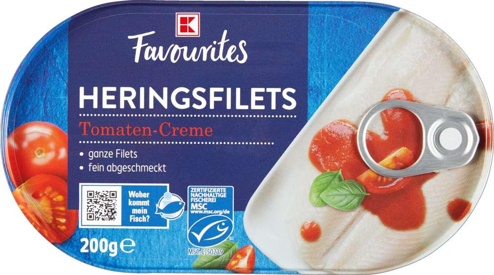 Abbildung des Sortimentsartikels K-Favourites Heringsfilets in Tomatencreme 200g