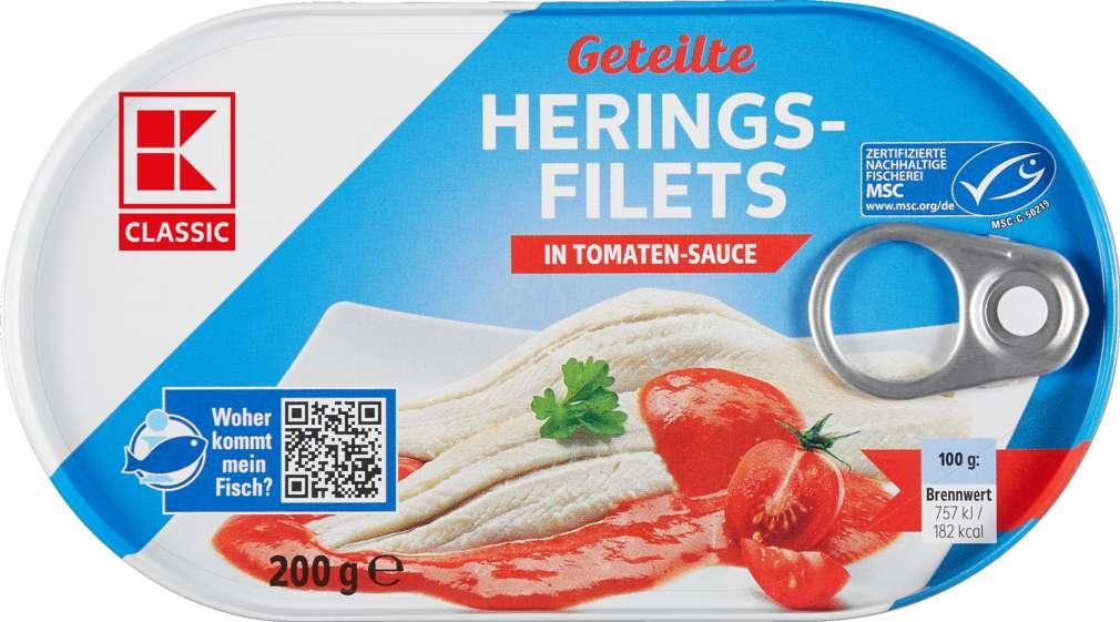Abbildung des Sortimentsartikels K-Classic Heringsfilets in Tomatensauce 200g