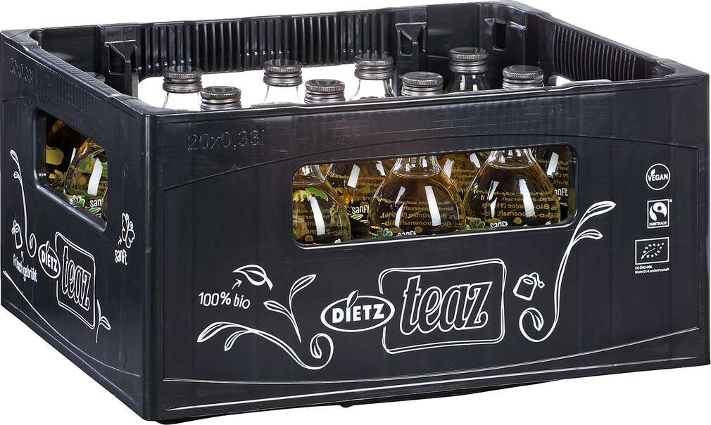 Abbildung des Sortimentsartikels Dietz teaz Bio Grüner Tee Zitrone-Ingwer 20x0,33l