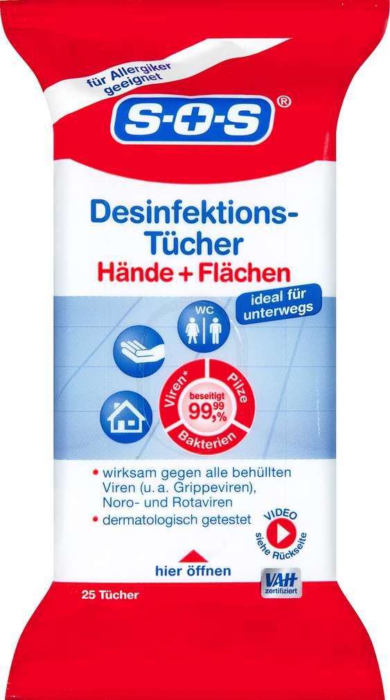 Abbildung des Sortimentsartikels SOS Desinfektionstücher für Hände und Flächen 25 Stück