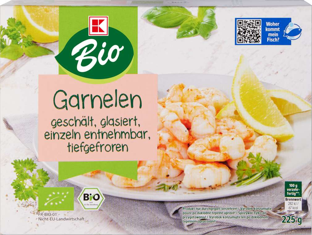 Abbildung des Sortimentsartikels K-Bio Garnelen roh 225g