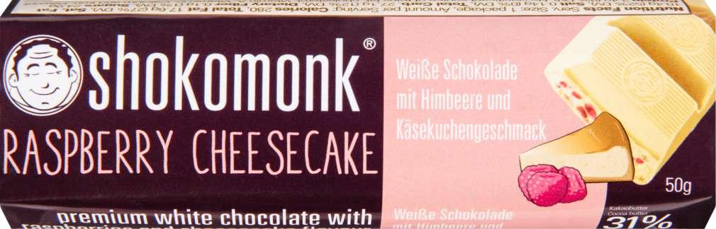 Abbildung des Sortimentsartikels shokomonk Raspberry Cheesecake 50g