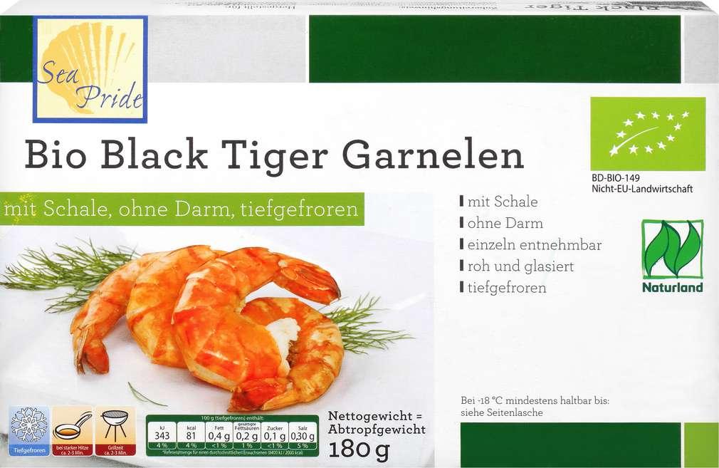Abbildung des Sortimentsartikels Clasen Bio-Black Tiger Garnelen 180g