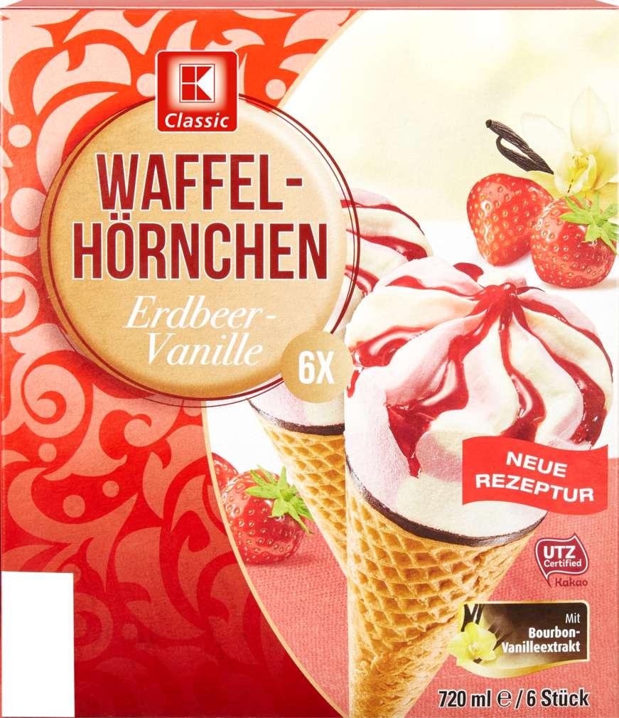 Abbildung des Sortimentsartikels K-Classic Waffelhörnchen Erdbeer-Vanille Eis 6x120ml
