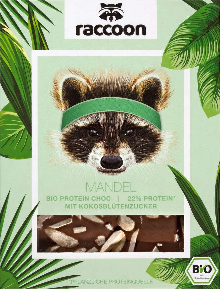 Abbildung des Sortimentsartikels raccoon Bio-Proteinschokolade Mandel, vegan 70g