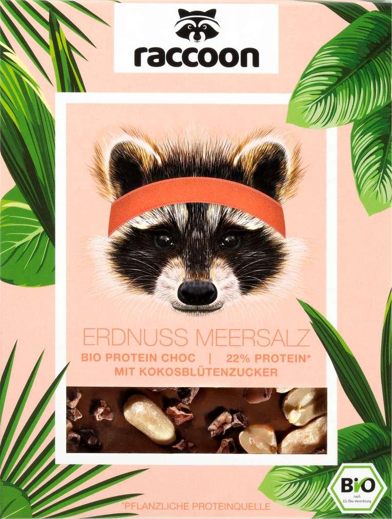 Abbildung des Sortimentsartikels raccoon Bio-Proteinschokolade Erdnuss Meersalz vegan 70g