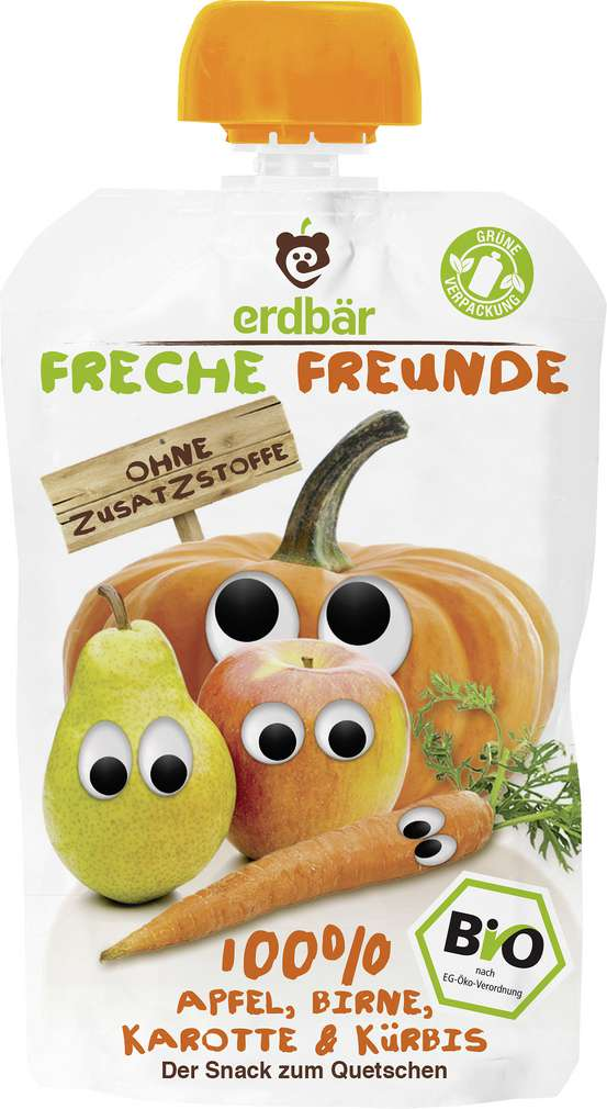 Abbildung des Sortimentsartikels Erdbär Freche Freunde Quetschmus 100% Apfel, Birne, Karotte & Kürbis 100g