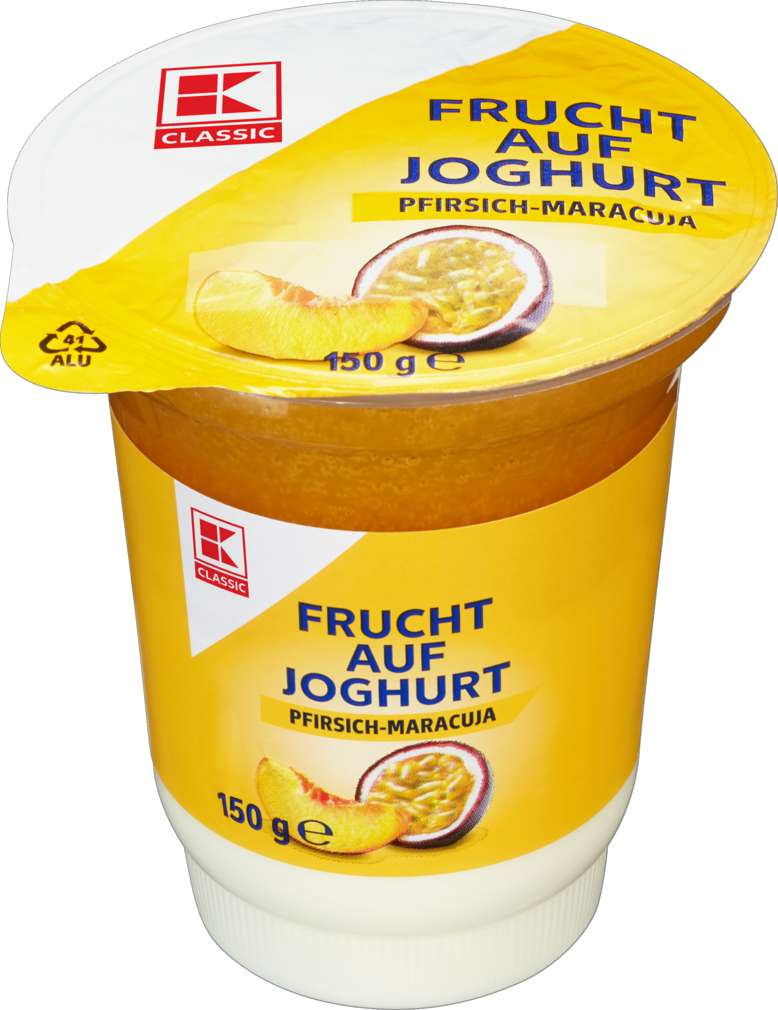 Abbildung des Sortimentsartikels K-Classic Frucht auf Joghurt Pfirsich-Maracuja 150g