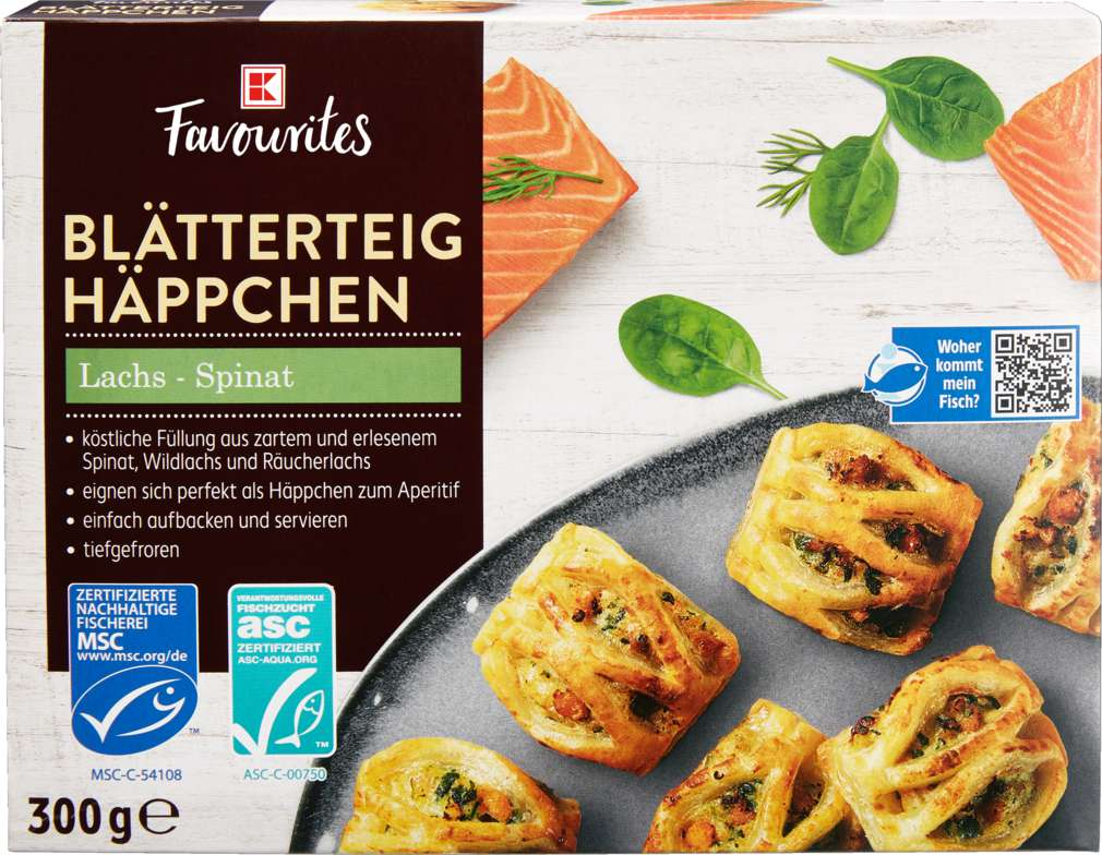 Abbildung des Sortimentsartikels K-Favourites Blätterteig Häppchen Lachs-Spinat 300g