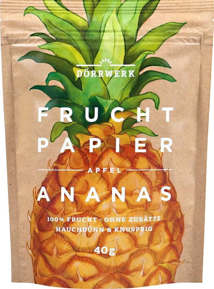 Abbildung des Sortimentsartikels Dörrwerk Fruchtpapier Apfel Ananas 40g