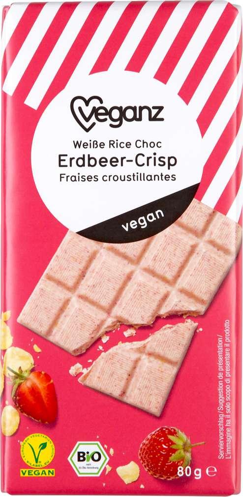 Abbildung des Sortimentsartikels Veganz Weiße Rice Choc Erdbeer.Crisp 80g
