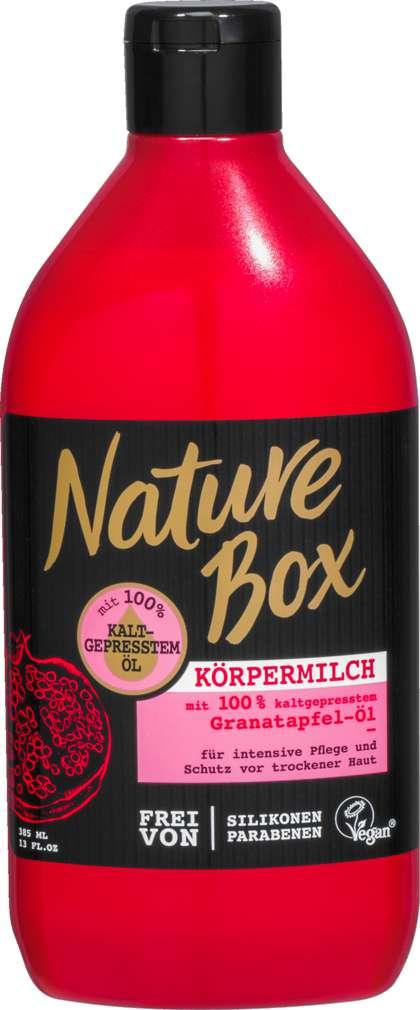 Abbildung des Sortimentsartikels Nature Box Body Milch Granatapfel 385ml