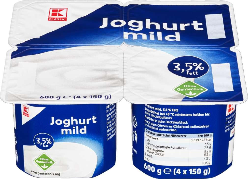Abbildung des Sortimentsartikels K-Classic Naturjoghurt 3,5% Fett, mild 4x150g
