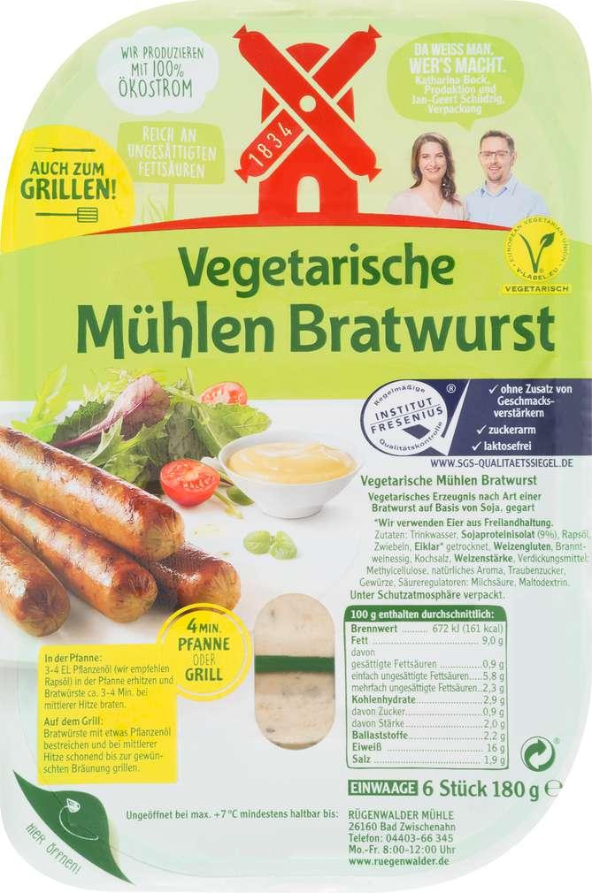Abbildung des Sortimentsartikels Rügenwalder Mühle Vegetarische Mühlen Bratwurst 180g