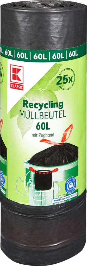 Abbildung des Sortimentsartikels K-Classic Müllsack Recycling 60L, mit Zugband 25 Stück