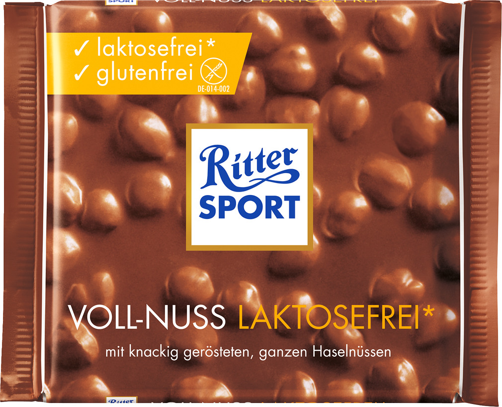 Abbildung des Sortimentsartikels Ritter Sport Voll-Nuss Laktosefrei 100g
