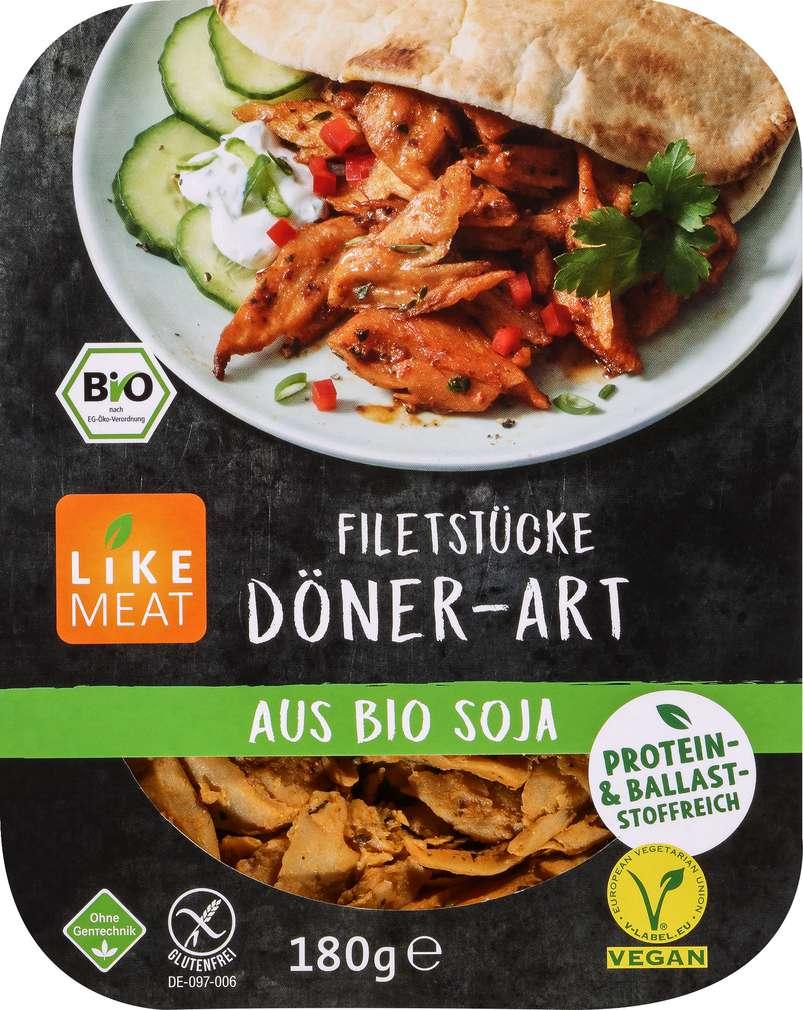 Abbildung des Sortimentsartikels Like Meat Soja Filetstücke Döner-Art 180g
