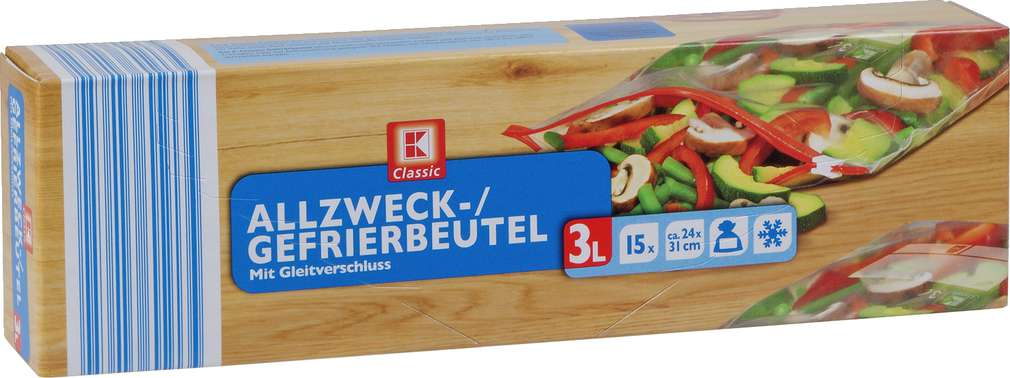 Abbildung des Sortimentsartikels K-Classic Allzweck-/Gefrierbeutel 3l 15 Stück