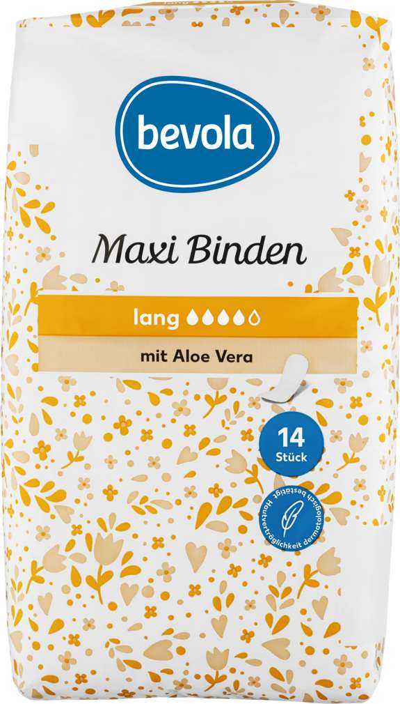 Abbildung des Sortimentsartikels Bevola Maxibinden Lang mit Aloe Vera 14 Stück