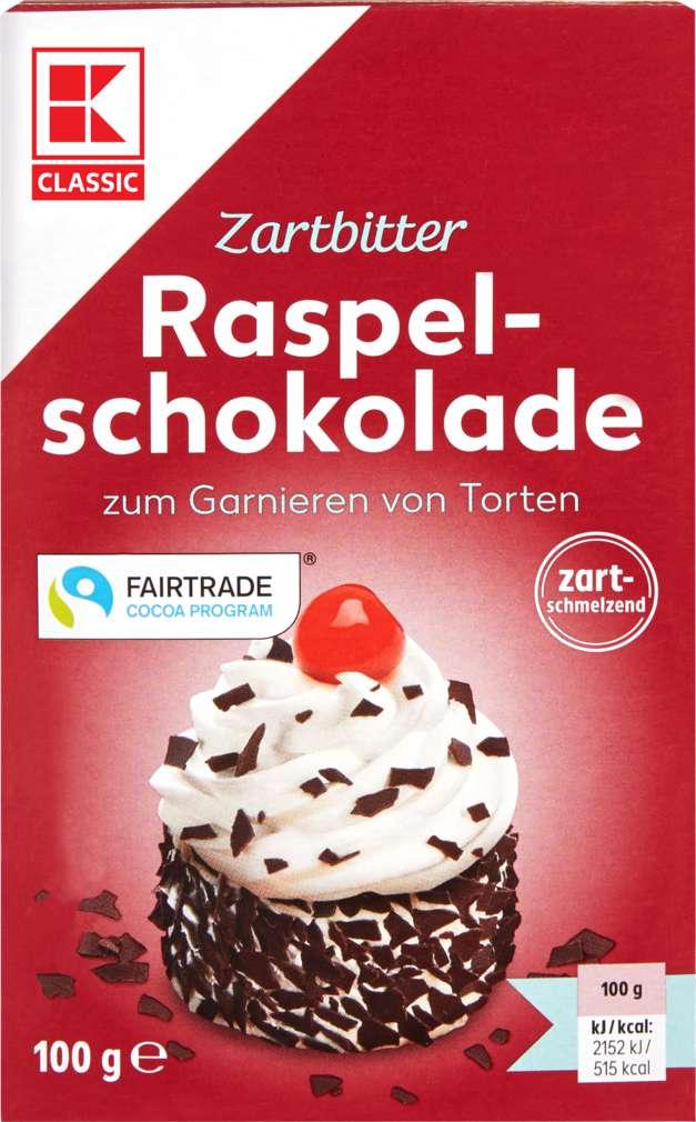 Abbildung des Sortimentsartikels K-Classic Raspelschokolade Zartbitter 100g
