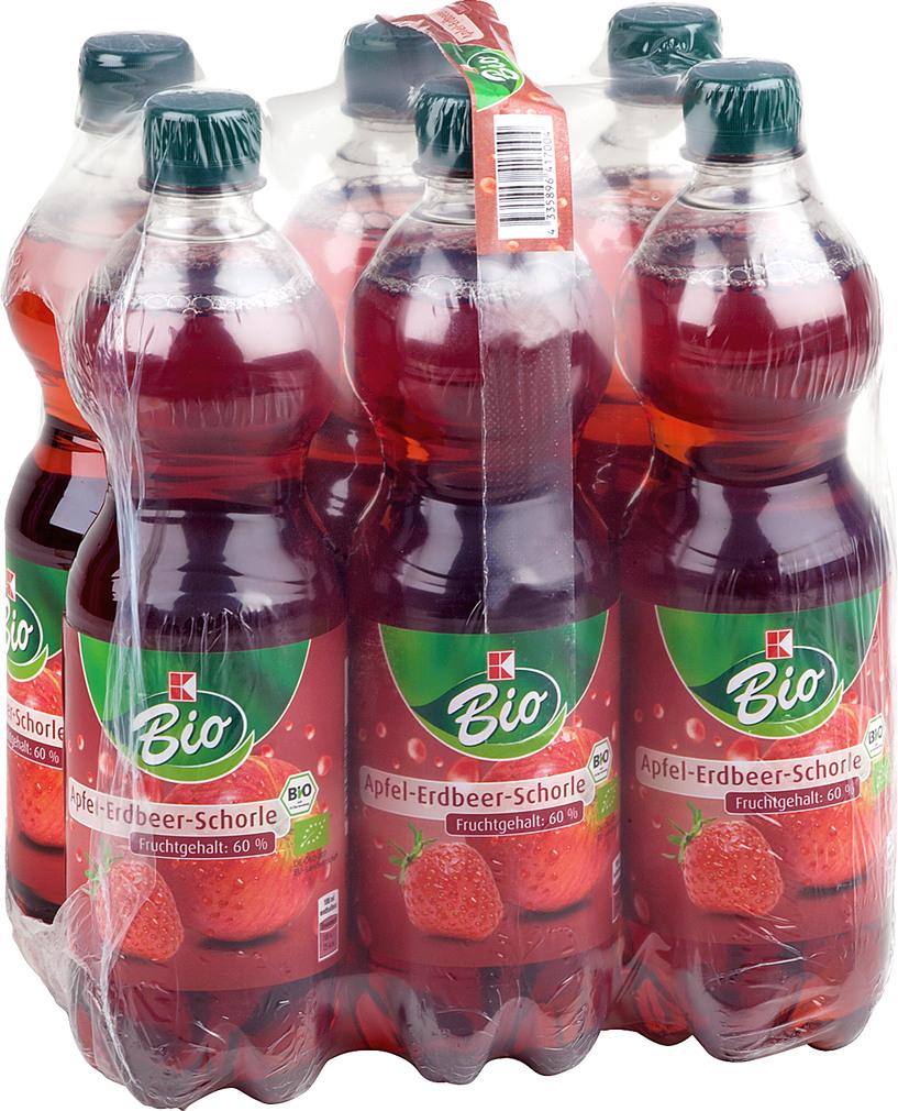 Abbildung des Sortimentsartikels K-Bio Apfel-Erdbeerschorle 6x0,75l