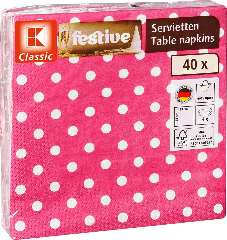 Abbildung des Sortimentsartikels K-Classic Servietten Punkte 33x33cm 40 Stück
