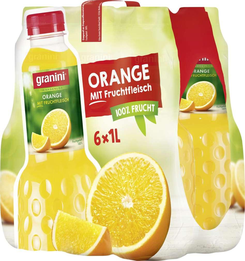 Abbildung des Sortimentsartikels Granini Orangensaft mit Fruchtfleisch 6x1l