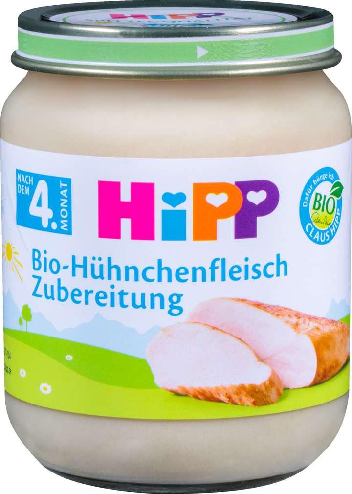 Abbildung des Sortimentsartikels Hipp Bio-Hühnchenfleisch Zubereitung 125g