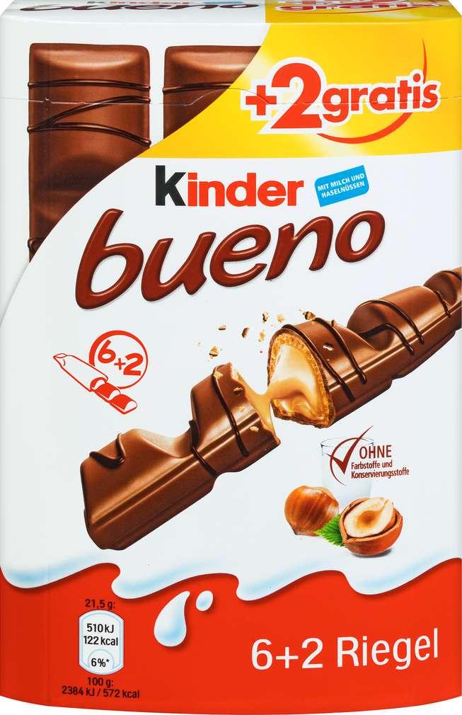 Abbildung des Sortimentsartikels Ferrero Kinder Bueno 6+2 Stück 172g