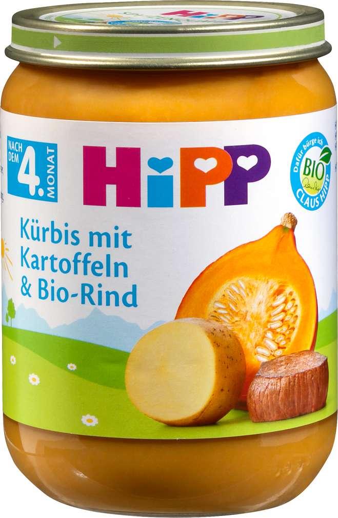 Abbildung des Sortimentsartikels Hipp Kürbis mit Kartoffeln und Bio-Rind 190g
