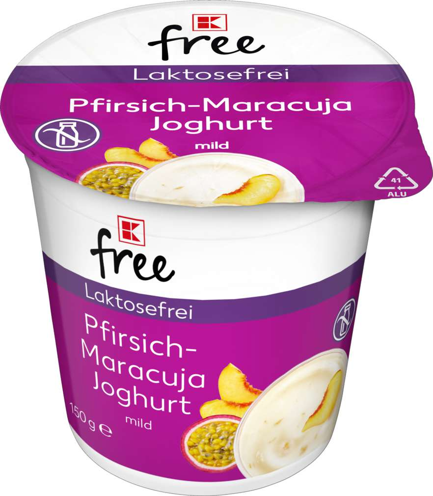 Abbildung des Sortimentsartikels K-Free Laktosefrei Pfirsich Maracuja Joghurt mild 150g