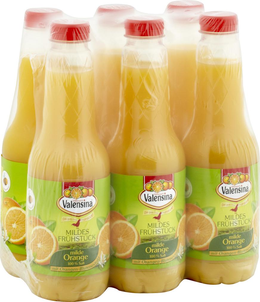 Abbildung des Sortimentsartikels Valensina Mildes Frühstück Milder Orangensaft Mildes Frühstück 6x1l