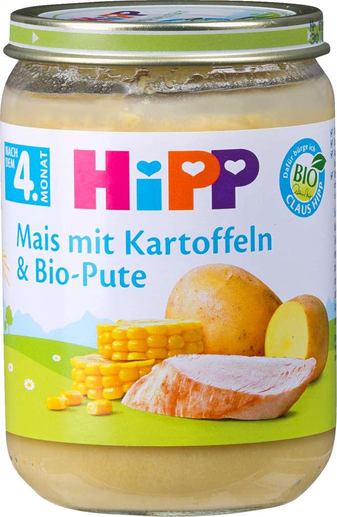 Abbildung des Sortimentsartikels Hipp Mais mit Kartoffeln und Bio-Pute 190g
