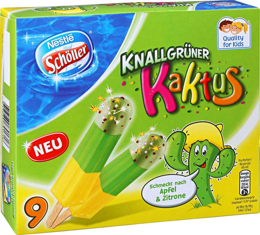 Abbildung des Sortimentsartikels Nestlé Schöller Knallgrüner Kaktus Eis 405ml, 9 Stück