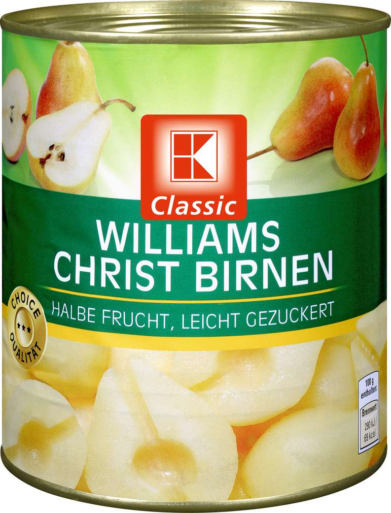 Abbildung des Sortimentsartikels K-Classic Williams-Christ-Birnen, gezuckert 850ml